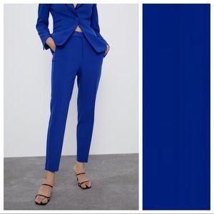 NWOT. Zara Blue Tuxedo Mid-waist Trousers. Size S.